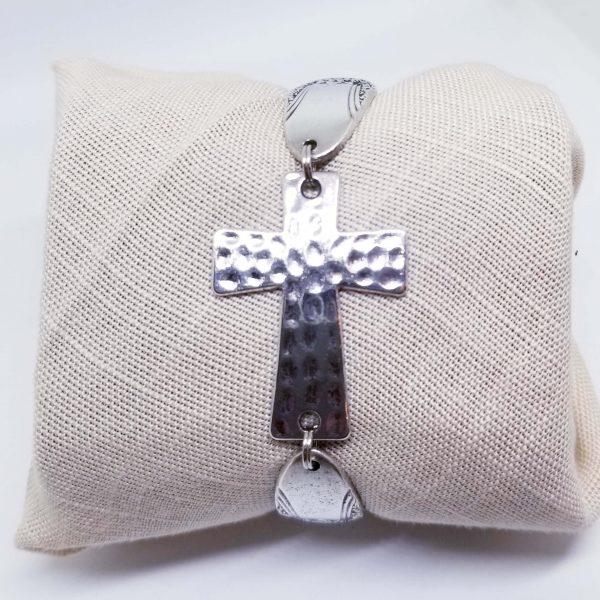 Hammered Cross Bracelet